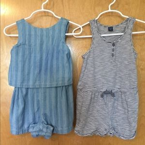 Gap set of 2 rompers for toddler girl, size 2T